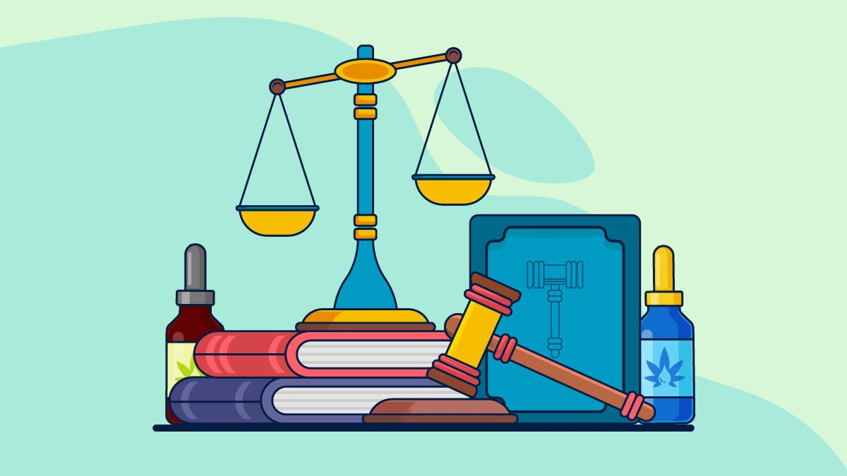 Illustration of Legalize CBD with gavel and scale of justice