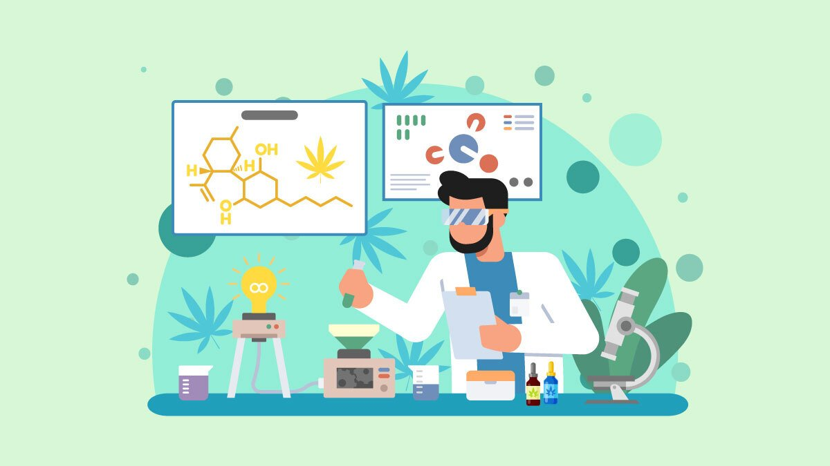 Illustration of a scientist researching CBD