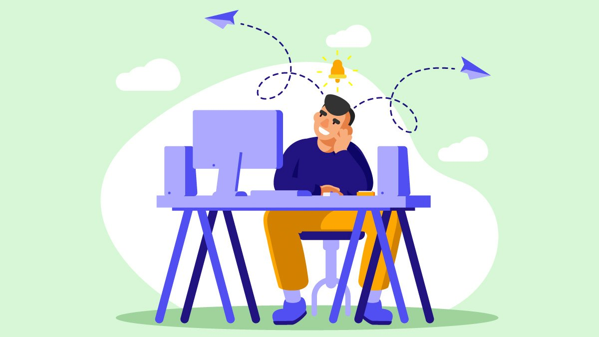 An Illustration of Person with ADHD Facing Computer Desk