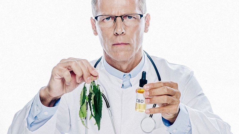 A doctor looking at the camera holding cbd oil bottle and hemp leaves on his hands