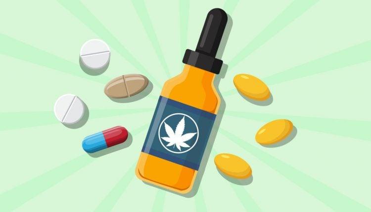 Illustration of CBD oil bottle and antidepressant drugs