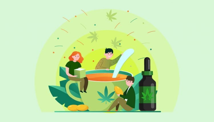 Illustration Cup of Tea with Hemp Leaf Printed Cup Beside CBD Oil and three Persons Enjoy Stirring