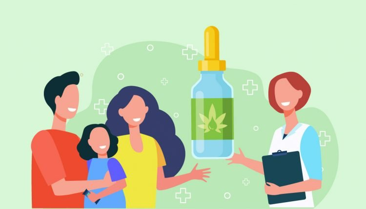 illustration of CBD Oil Given to a Kid with Parents