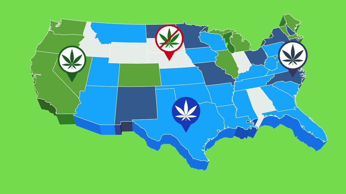 Illustration of Map of Marijuana Legalization by States in 2021 (Medical & Recreational)