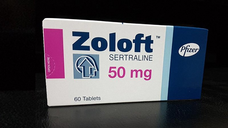 Zoloft packaging in a black background