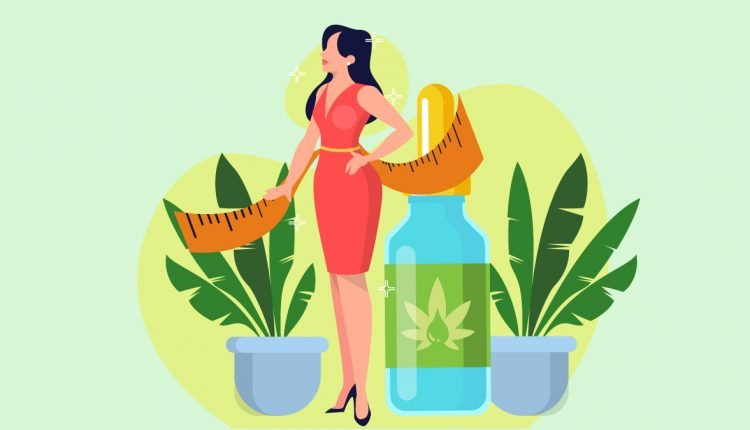 Illustration of a Woman In Shape Standing with Tape Measure and CBD Oil