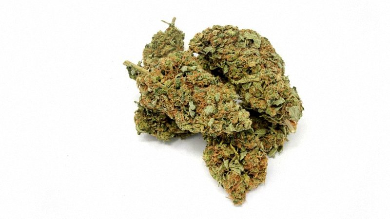 Sour Diesel sativa cannabis buds lying on top of each other in a white background