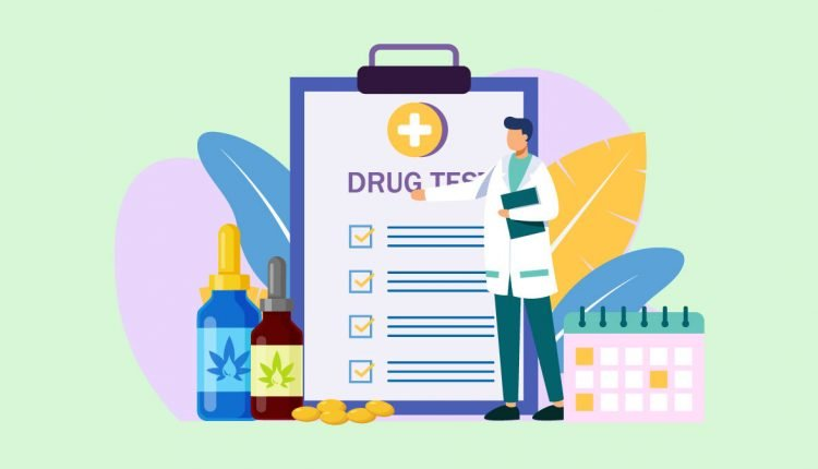 Illustration of CBD Oil with Drug Test Checklist Monitored by Doctor