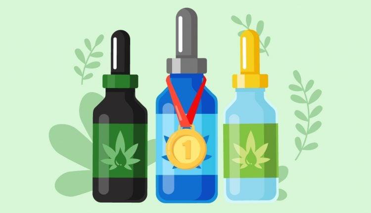 Three Best CBD Oil Bottles in Green Background