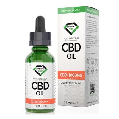 diamond cbd oil 1000 mg in white background