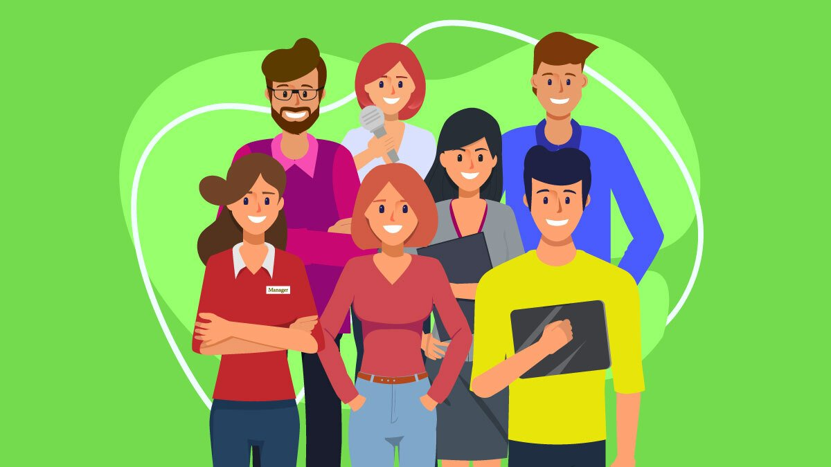 Illustration of a group of employees