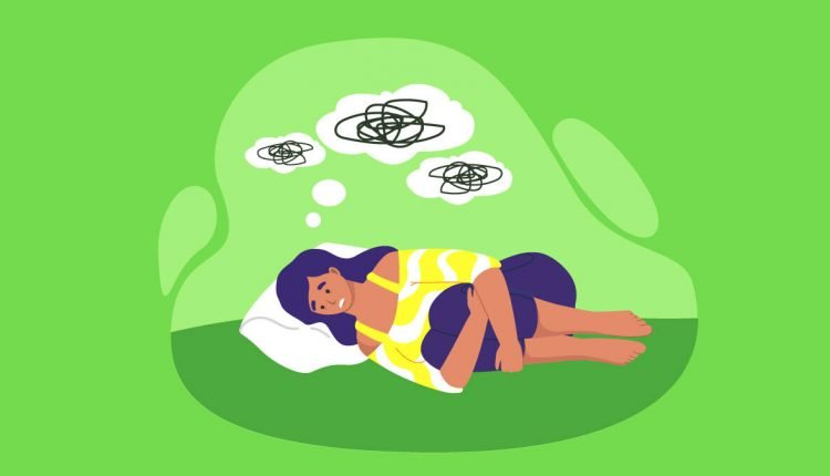 Illustration of a woman laying down with anxiety