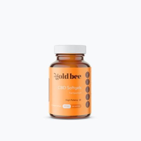 GoldBee SoftGel Bottle on white background