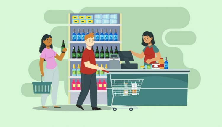 Illustration of People Buying CBD Oil From Store