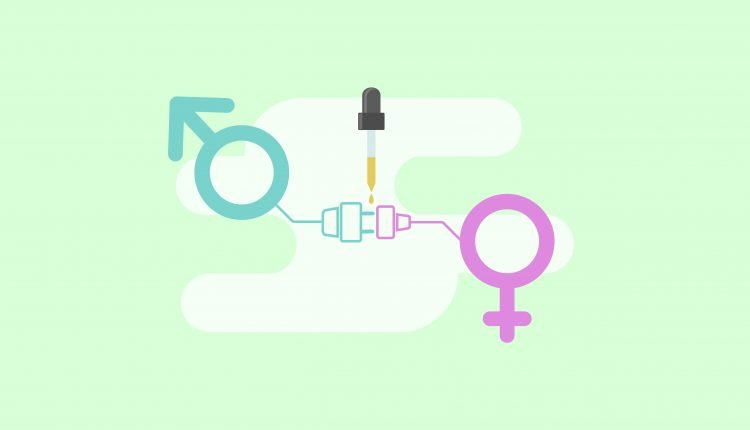 Illustration of male and female sex icons connected with CBD oil bottle