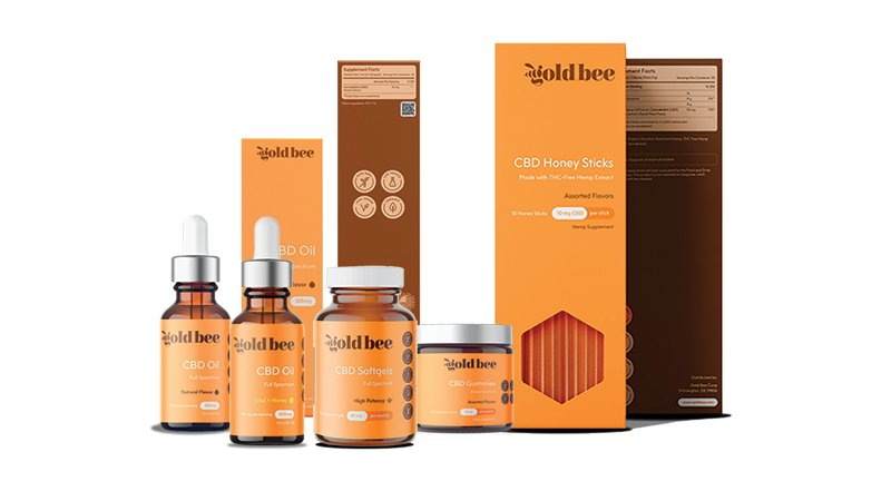 goldbee cbd products on a white background