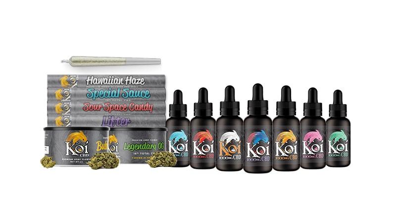 Koi cbd vape juices and smoke products on white background