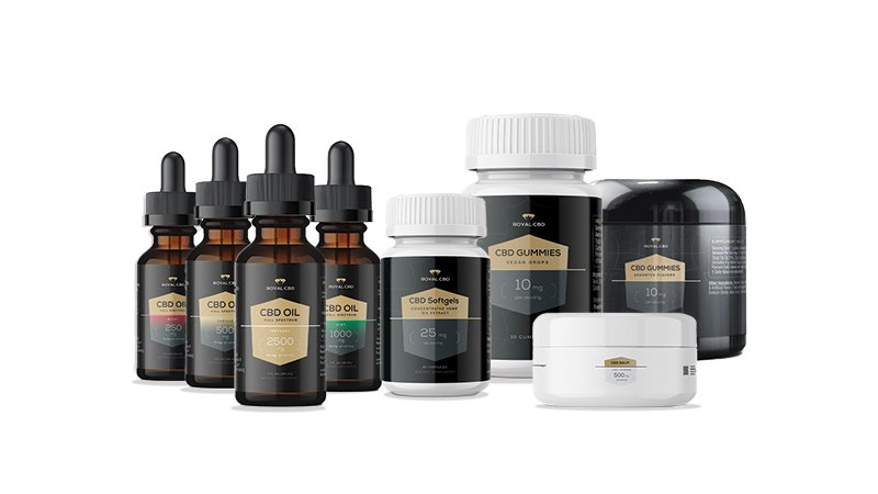 royal cbd products on a white background