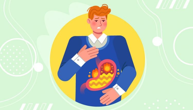 Illustration of a Man Suffering from Acid Reflux