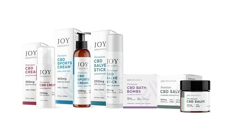 joy organics cbd topicals on white background 2020