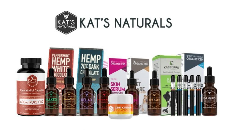 kats naturals cbd products on white background