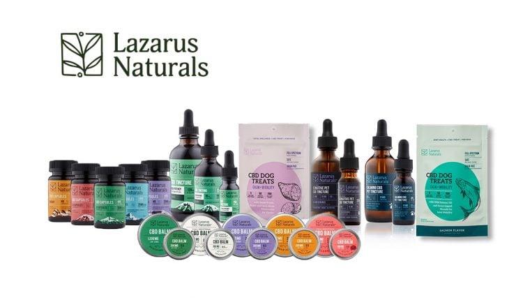 lazarus naturals cbd products on white background