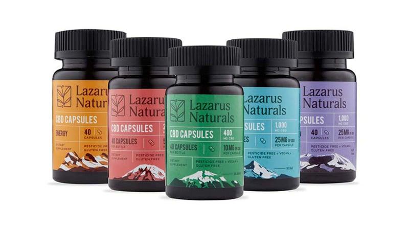 lazarus naturals cbd capsules bottles on white background