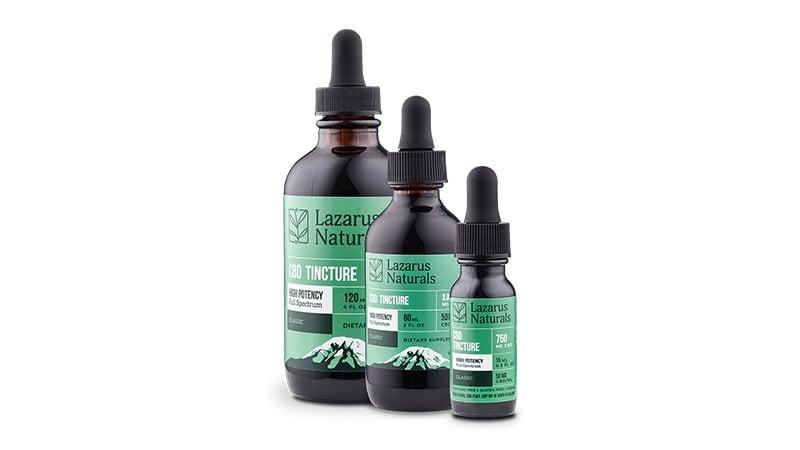 lazarus naturals cbd oil bottles on white background
