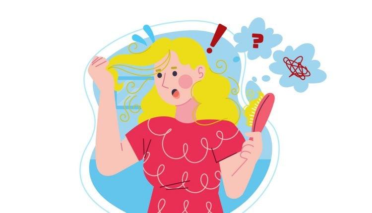 Illustration of a Woman Having Hair Loss Problem