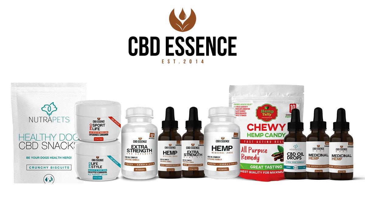 CBD Essence Products on white background