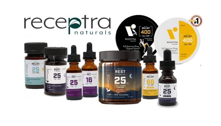 Receptra Naturals CBD Products with Receptra Naturals logo on white background