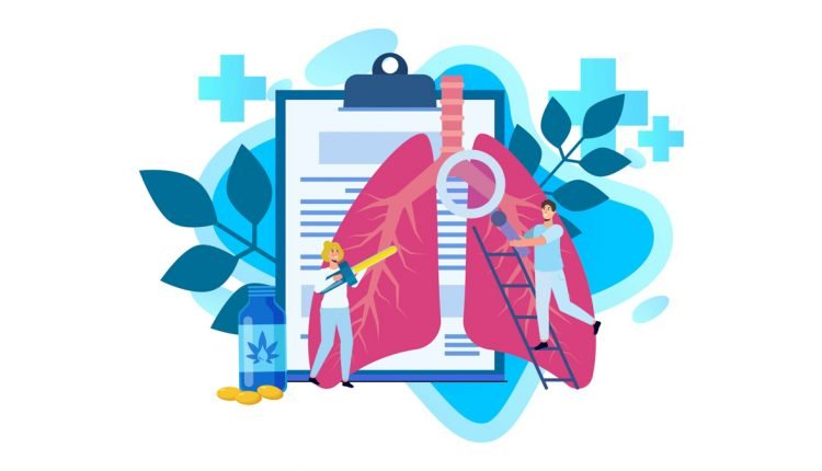 Illustration of CBD Oil on Lungs with COPD