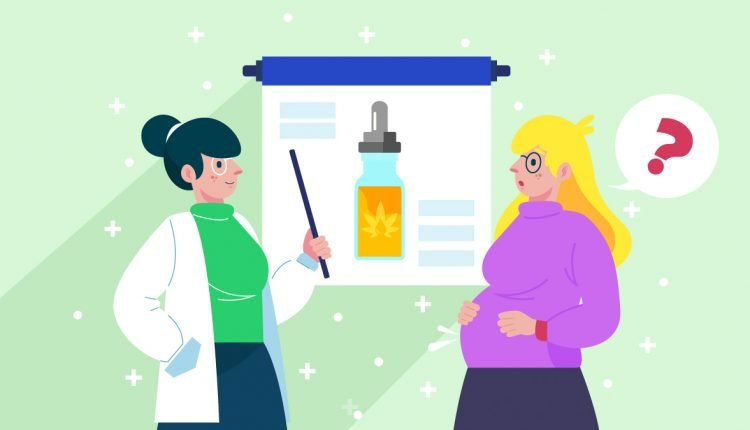Illustration of Doctor Giving Advice to a Pregnant Woman About CBD Oil