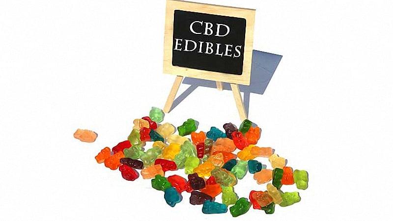 CBD Gummy with Board White Background