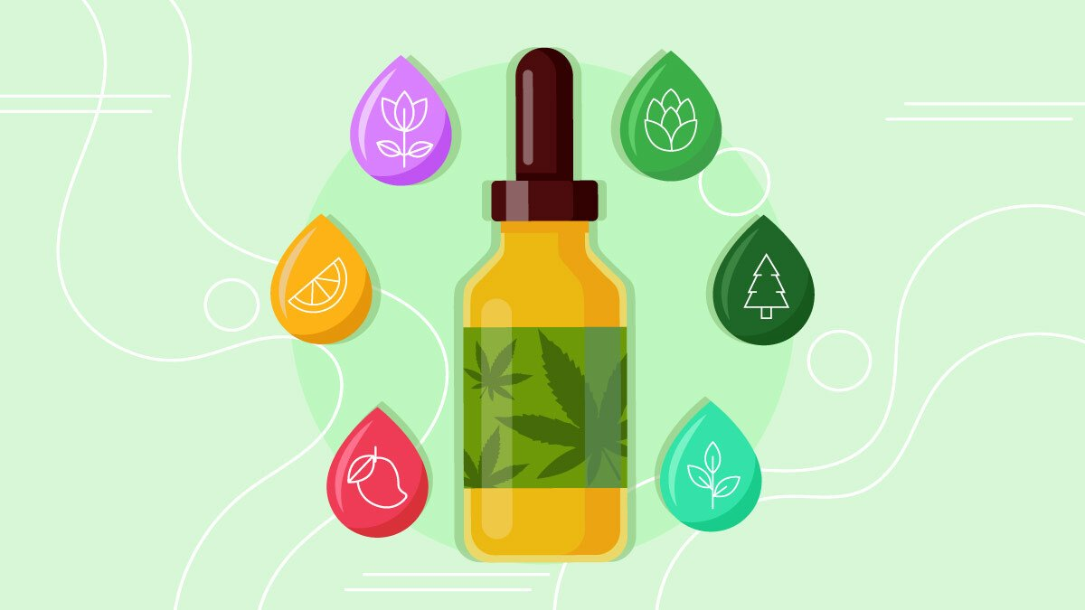 Illustration of a CBD oil bottle with different droplet icons of terpenes around