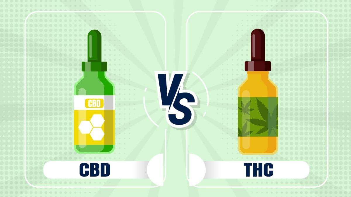 illustration of CBD bottle versus THC bottle